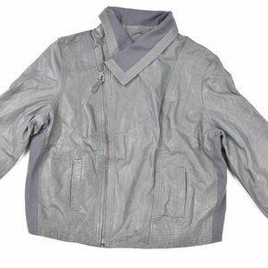 Hurley Mens Gray Avery Leather Flight Jacket